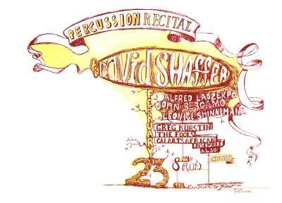 CalArts poster: Percussion Recital, David Shaffer by Emilie Burnham