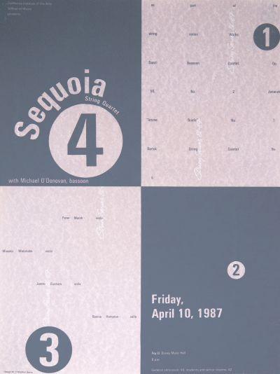 CalArts poster: 1987 Sequoia String Quartet by Cherylann Bento-Hughart