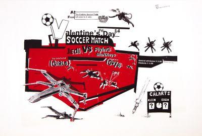 CalArts poster: Valentine's Day Soccer Match: Jedi Vs. Flying Monkeys by Christopher Selby