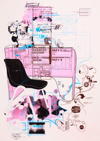 CalArts poster: 2003 Graphic Design End of the Year Show by Peter Kaplan Riley Swift