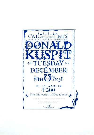 CalArts poster: Donald Kuspit by James Stoecker