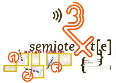 CalArts poster: Native Agents Reading Tour: Semiotext(e) by Weston Bingham
