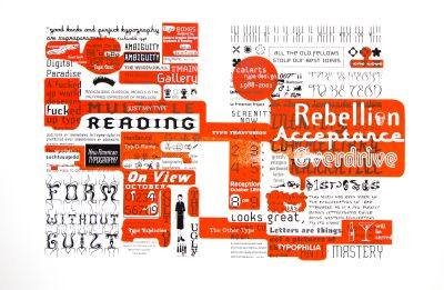 CalArts poster: Rebellion, Acceptance, Overdrive: CalArts Type Design 1988–2001 by Jon Sueda Stuart Smith