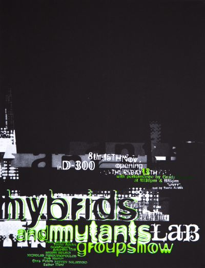 CalArts poster: Hybrids and Mutants Lab Groupshow by HweeMin Loi