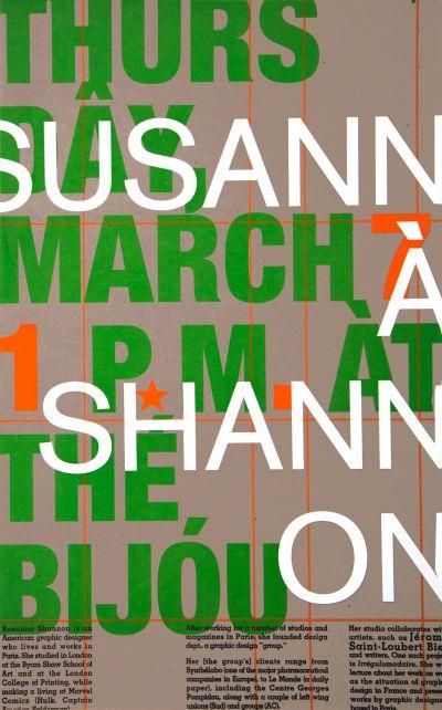 CalArts poster: Susannà Shannon by Beth Elliott Sibylle Hagmann