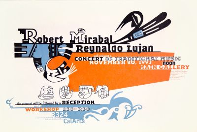 CalArts poster: Robert Mirabal & Reynaldo Lujan: Concert of Traditional Music by Andrea Tinnes Pirco Wolframm