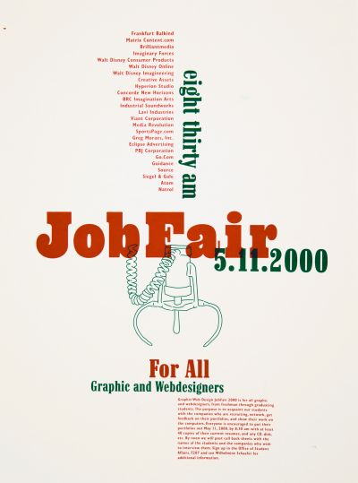 CalArts poster: 2000 Job Fair For All Graphic Designers & Web Designers by