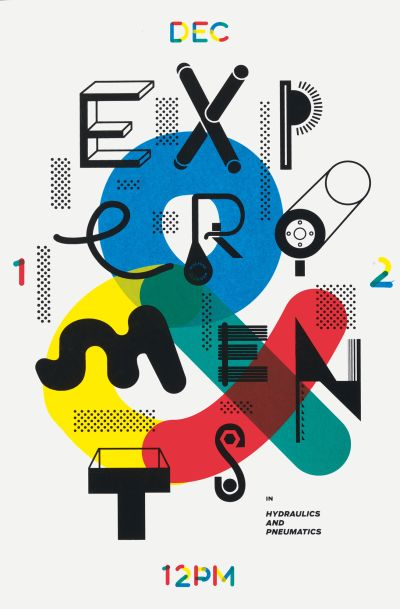 CalArts poster: Experiments in Hydraulics by Kat Dickinson