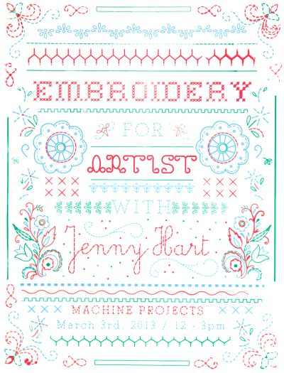 CalArts poster: Embroider For Artist with Jenny Hart by Christina Rodriguez