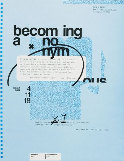 CalArts poster: Becoming Anonymous by Mitchel Cox
