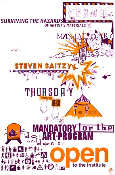 CalArts poster: Mandatory Safety Lecture by Andrea Tinnes HweeMin Loi Jose Allard Lee Schulz Pirco Wolframm