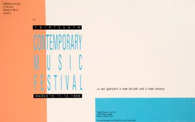 CalArts poster: 1989 The Thirteenth Contemporary Music Festival by
