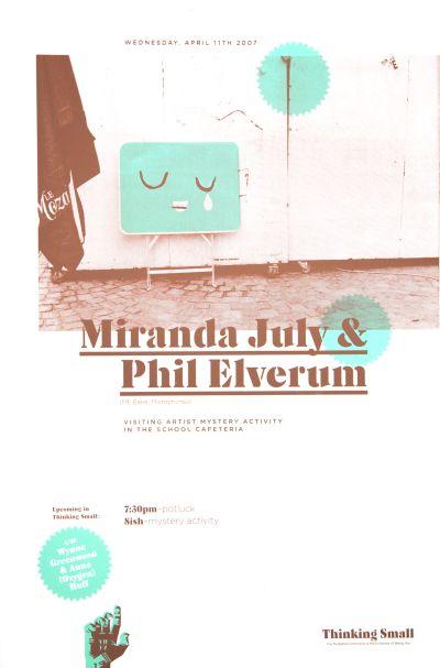 CalArts poster: Miranda July & Phil Elverum by Florencio Zavala Victor Hu