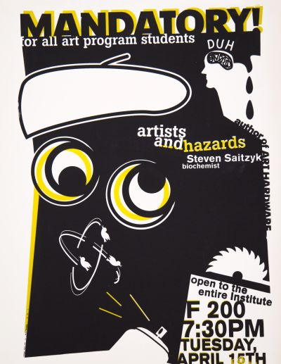 CalArts poster: Artists and Hazards by Ana Llorente