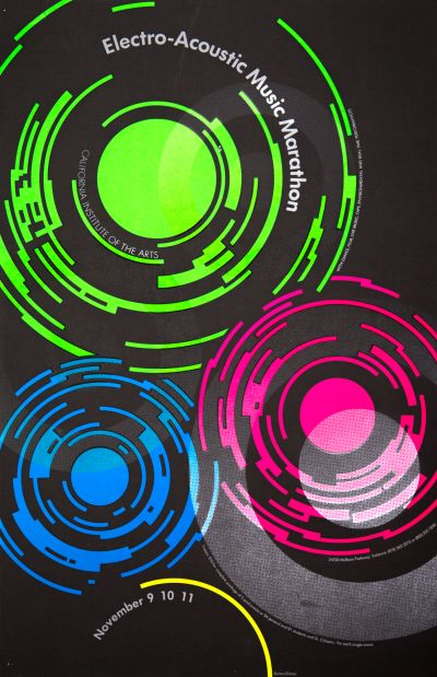 CalArts poster: Electro-Acoustic Music Marathon by Lila Burns