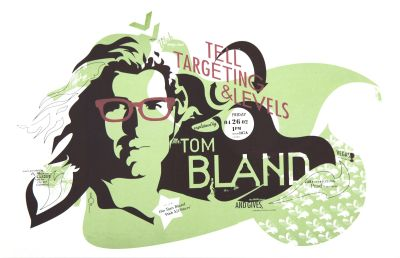 CalArts poster: Tom Bland: Tell Targeting & Levels by Olivia Morad