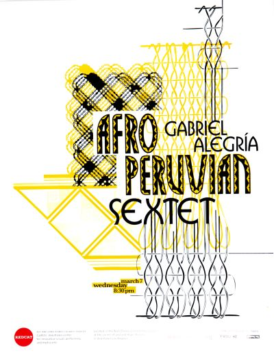CalArts poster: REDCAT: Gabriel Alegría, Afro-Peruvian Sextet by