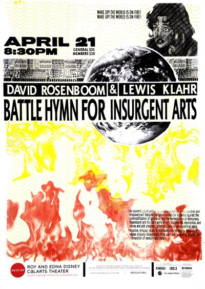 CalArts poster: REDCAT: Battle Hymn For Insurgent Arts by Trey Brothers
