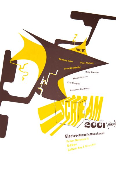 CalArts poster: SCREAM Electro-Acoustic Music Concert by Brad Tucker