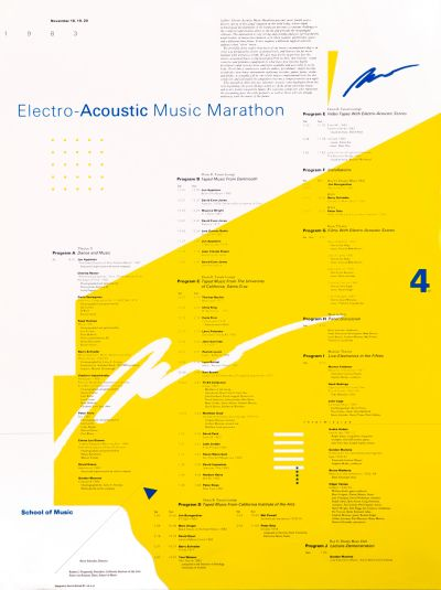 CalArts poster: Electro-Acoustic Music Marathon by Dennis Michael Dimos