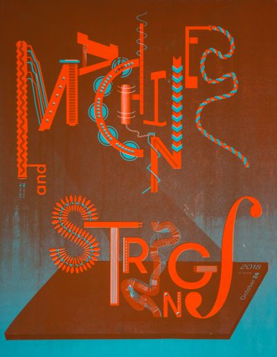CalArts poster: REDCAT: Machines and Strings by Alex Cerutti
