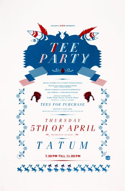 CalArts poster: Tee Party by Roman Jaster Stephanie Chen