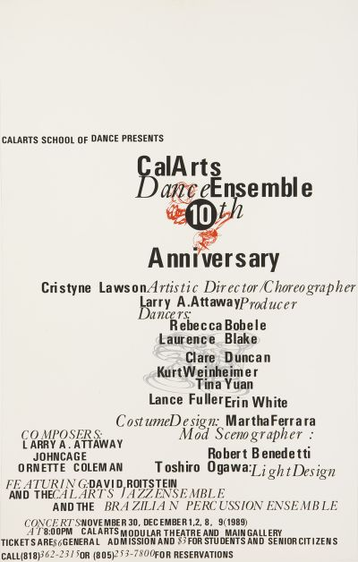 CalArts poster: Dance Ensemble 10th Anniversary by Ed Fella