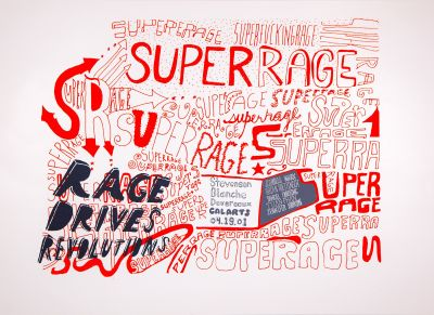 CalArts poster: Superrage: Rage Drives Revolutions by Daniela Marx Tuan Phan