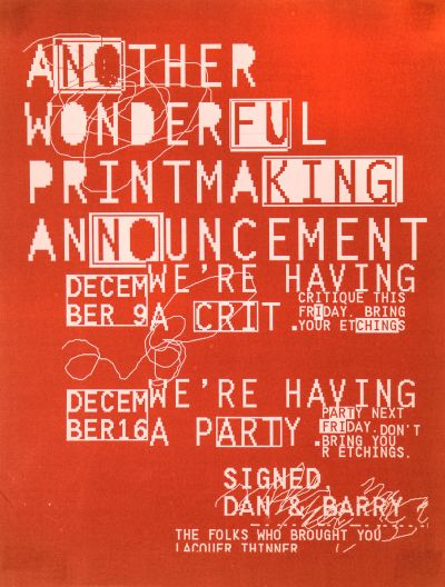 CalArts poster: Printmaking Party by Barry Deck