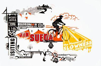 CalArts poster: Jon Sueda: The Pleasures of Slowness in Graphic Design by Jon Sueda