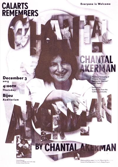 CalArts poster: CalArts Remembers Chantal Akerman by Jessica Lee