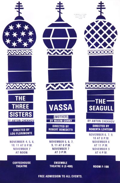 CalArts poster: The Three Sisters / VASSA / The Seagull by