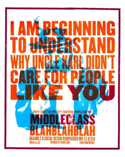CalArts poster: Middle Class Blah Blah Blah by Tuan Phan
