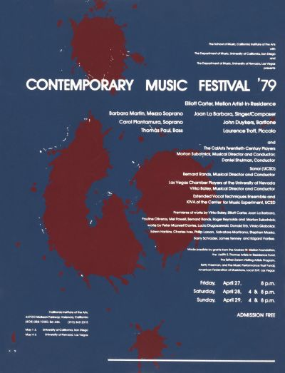 CalArts poster: Contemporary Music Festival by
