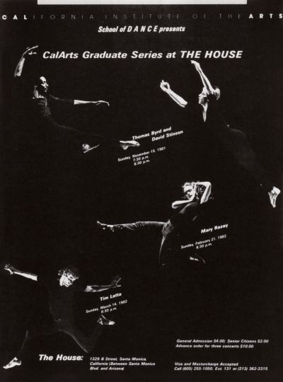 CalArts poster: CalArts Graduate Series at The House by
