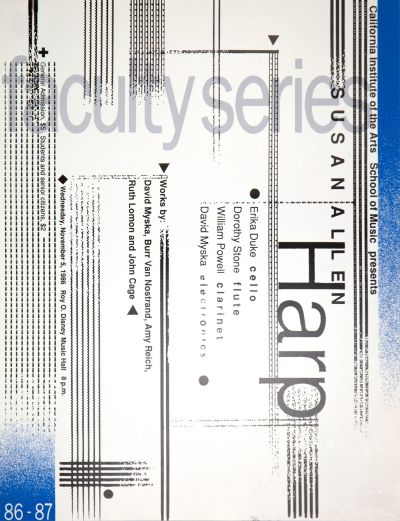 CalArts poster: '86-'87 Faculty Series: Susan Allen by