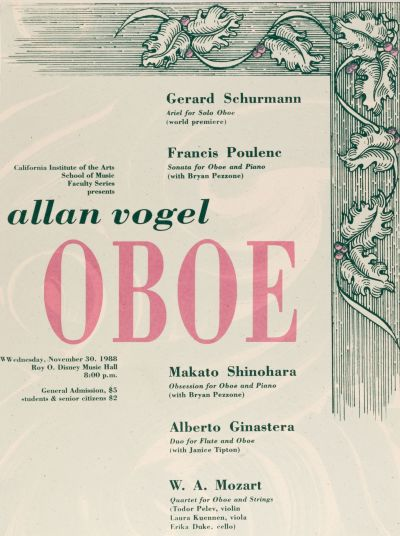 CalArts poster: Allan Vogel Oboe by