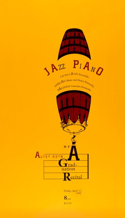 CalArts poster: Jazz Piano Alyse Korn MFA Graduation Recital by Katherine Leyton
