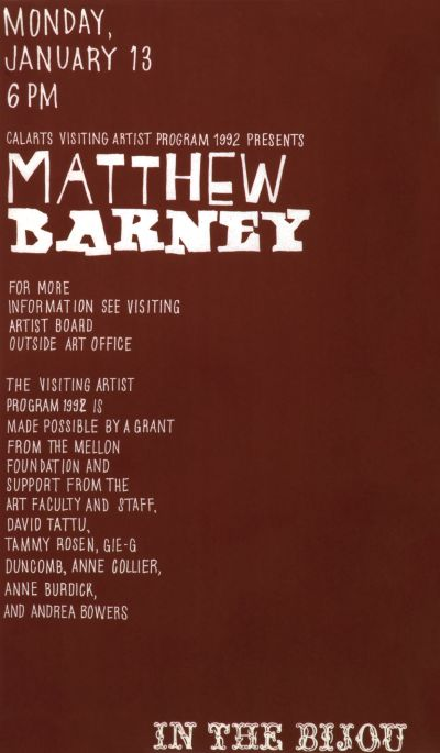 CalArts poster: Matthew Barney by Anne Burdick