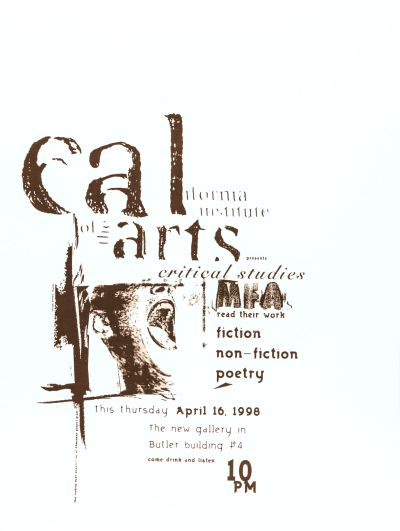 CalArts poster: MFAs Read Their Work by Dennis Toyoda