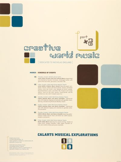 CalArts poster: CreativeWorldMusic by Jennifer Staggs