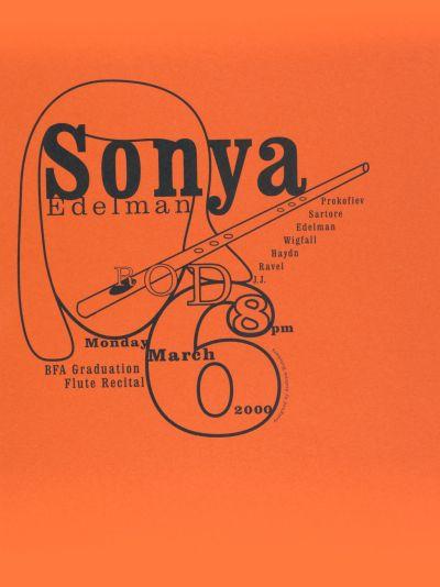 CalArts poster: Sonya Edelman: BFA Graduation Flute Recital by Andrew Kutchera