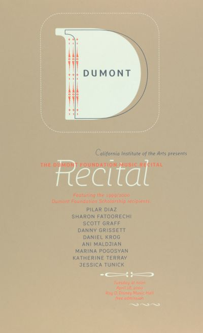 CalArts poster: The Dumont Foundation Music Recital by Caryn Aono