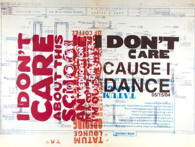 CalArts poster: I Don't Care Cause I Dance by Brian Roettinger Daniela Marx Jennifer Hopkins Samuel Farfsing Tuan Phan
