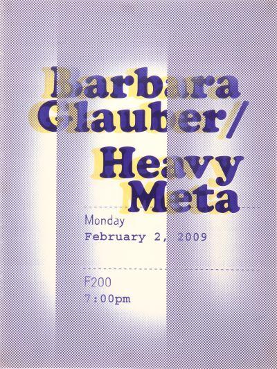 CalArts poster: Barbara Glauber: Heavy Meta by Laura Bernstein