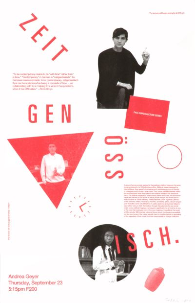 CalArts poster: Zeitgenössisch Andrea Geyer by Scott Barry