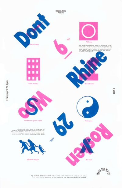 CalArts poster: Dont Rhine Rosten Woo by Scott Barry