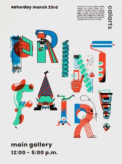 CalArts poster: Print Fair Poster by Jihyun Yi Joe Suh Kento Shirotsuka Marshall Wang