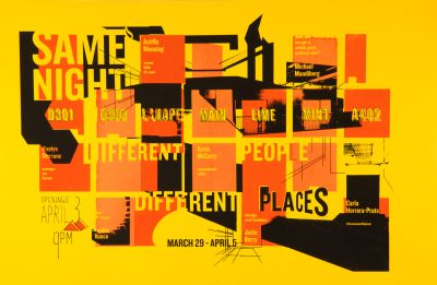 CalArts poster: Same Night Different People Different Places by Christina Clugston Emily Morishita