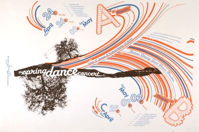 CalArts poster: The Spring Dance Concert by Andrew Bernet Victoria Lam
